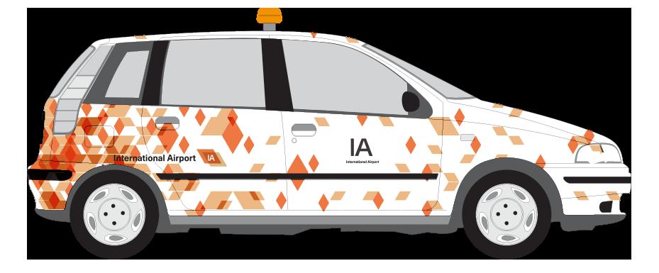 Grafisch patroon voor belettering Airport Control Car